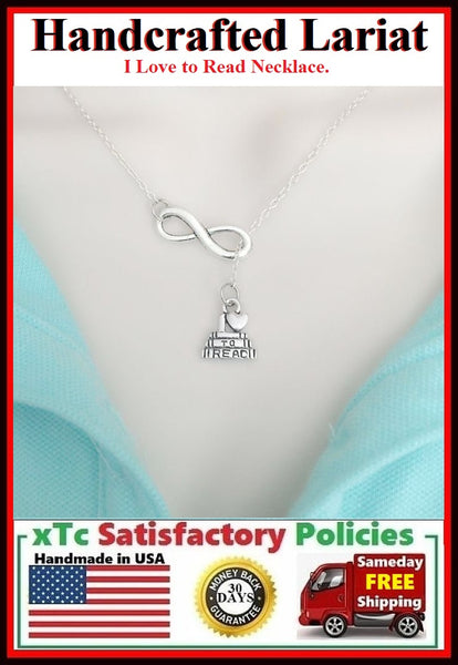 """I Love to READ"" Handcrafted Necklace Lariat Style."