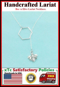 Simple and Beautiful Hive and Bee Handcrafted Necklace.