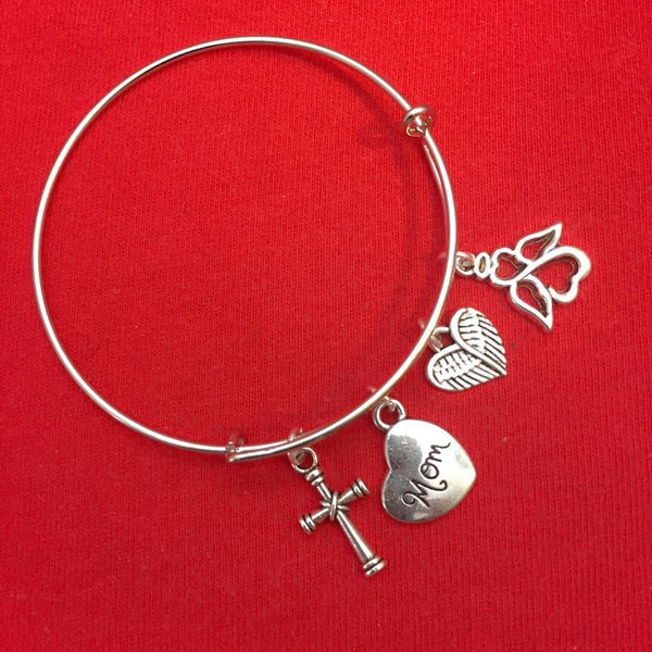 Family Members Memorial Charms Expendable Bangle Bracelet