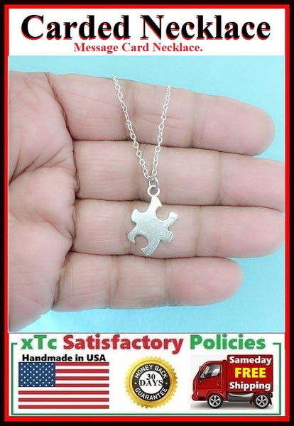 Autism Necklace; Handcrafted Silver Autism Piece Charm Necklace.