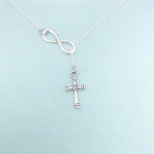 Beautiful Knotted Cross with Infinity Necklace Lariat Style.