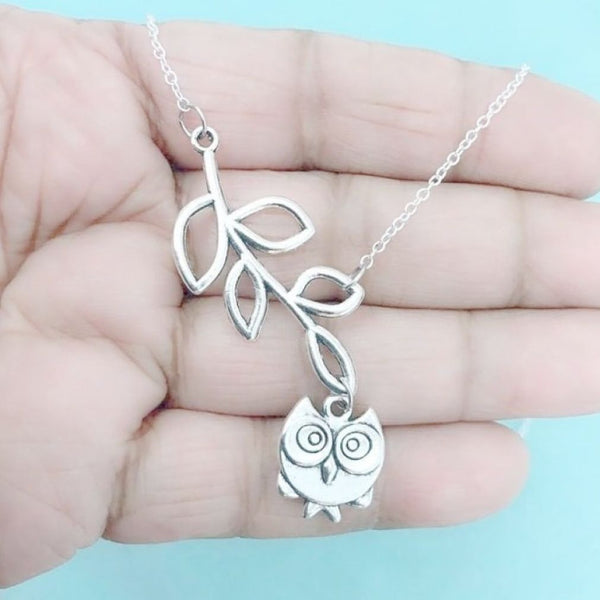 Beautiful Handcrafted Artistic OWL Charm Lariat Necklace.