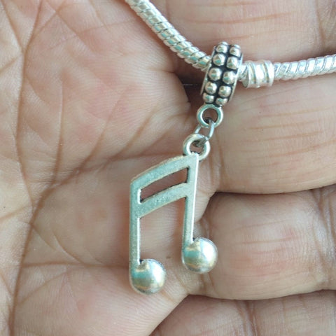 Music Lovers Music Note Silver Bead For Charm Bracelet