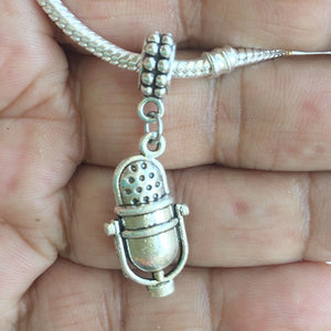 Music Lovers Studio Microphone Silver Bead For Charm Bracelet