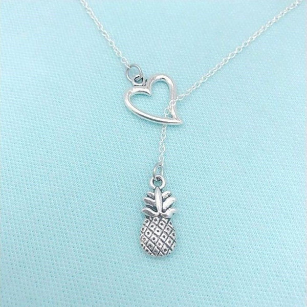 Welcome Hospitality Symbol Silver Pineapple Lariat Y Necklace.