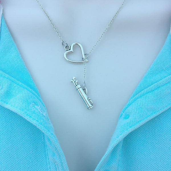 Golfers: Silver Golf Bog Charm Lariat Y Necklace.