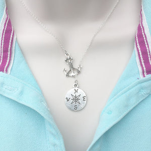 Handcrafted Anchor with Compass Charms Lariat Y Necklace.