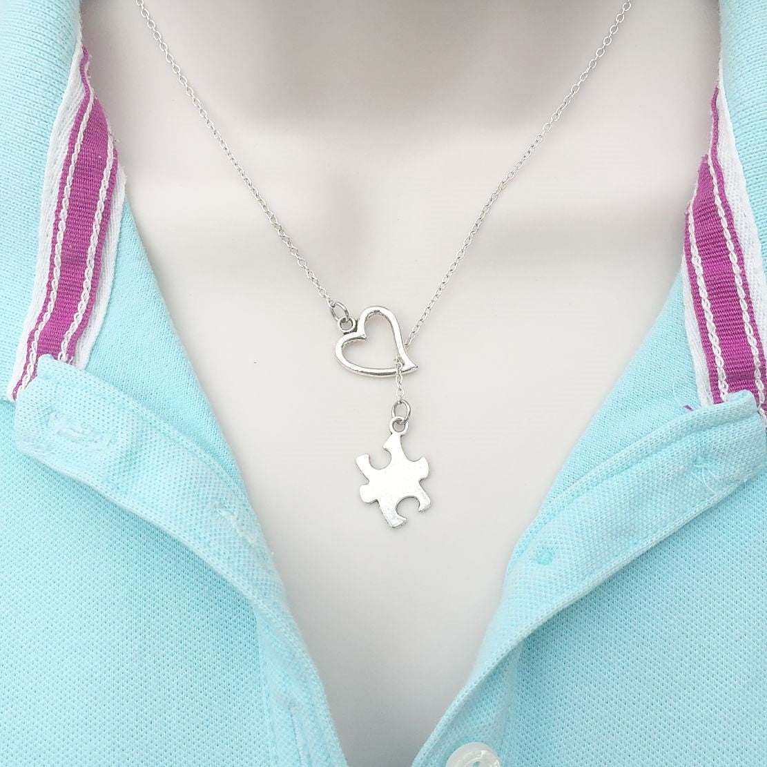 Autism Awareness Silver Puzzle Solid Piece Lariat Y Necklace.