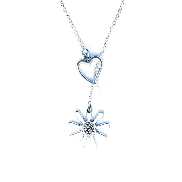 I Love Daisy Flower Silver Lariat Y Necklace.