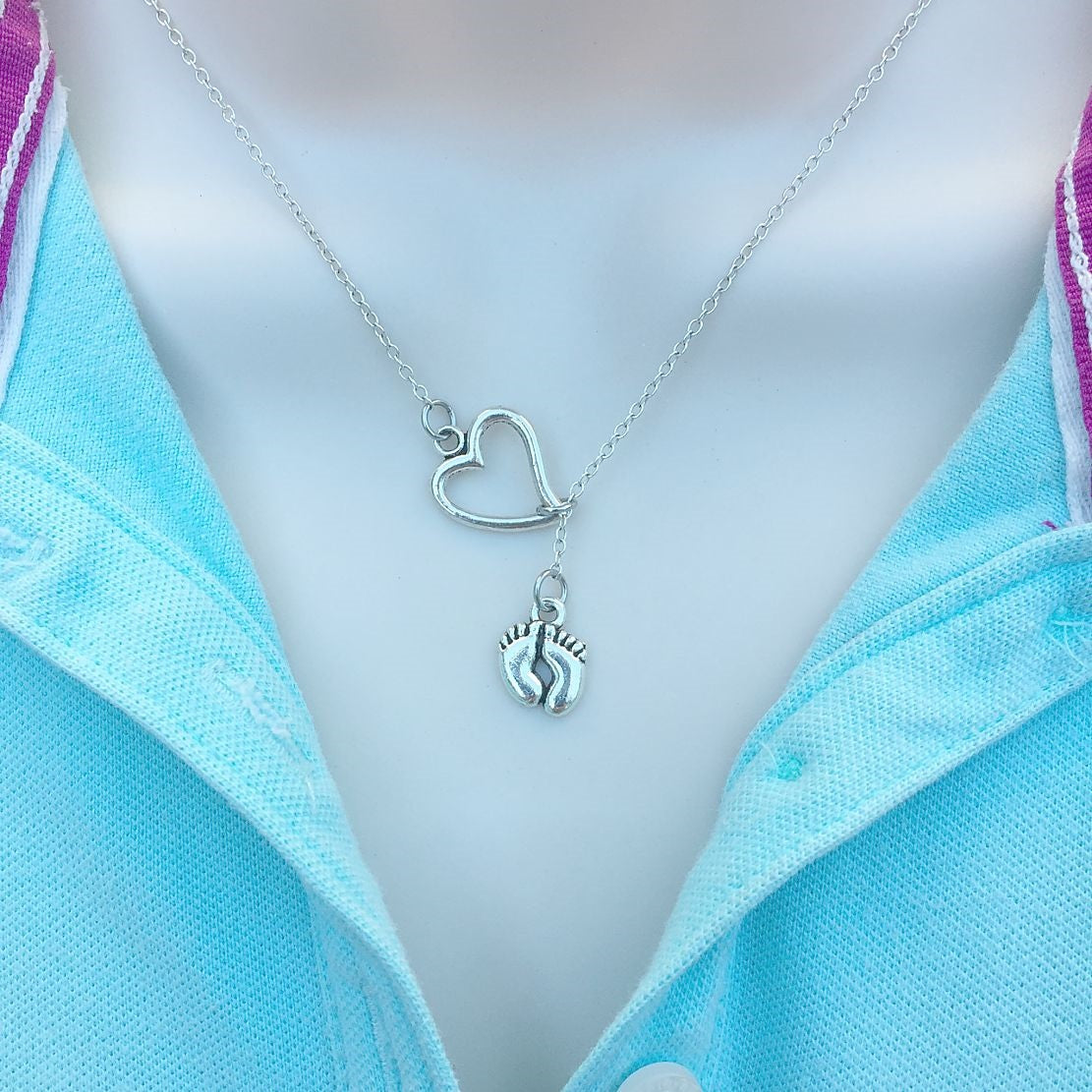 Newly Mom: I love My Baby Silver Lariat Y Necklace.
