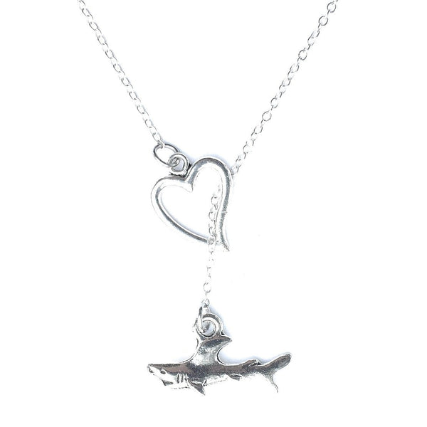 Love Tiger Shark Silver Lariat Y Necklace.