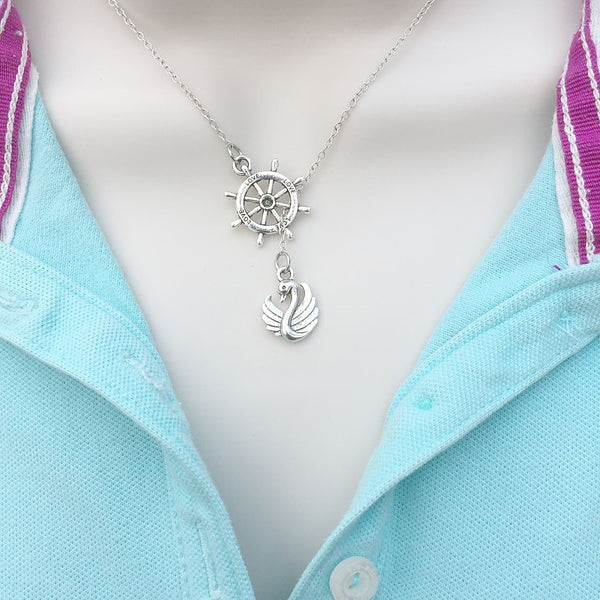 Swan n Rudder (Captain Hook) Silver Lariat Y Necklace.