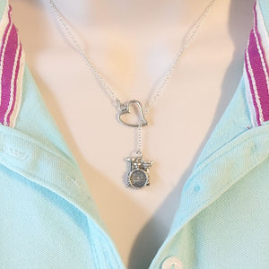 I Love Band Silver Drum Set Lariat Y Necklace.