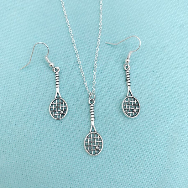 Beautiful Tennis Racket Earrings & Necklace Set Tennis Player Gift Team Gift.