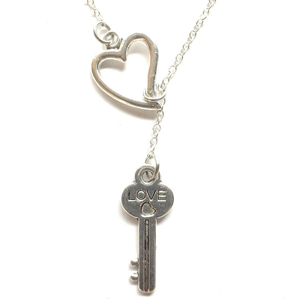 Key To My Heart Silver Love Key Lariat Y Necklace.