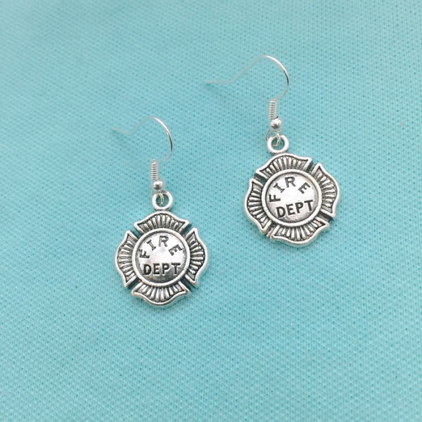 Beautiful FIREFIGHTERS Badge Silver Dangle Earrings.