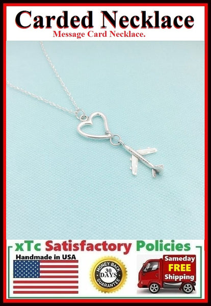 Long Distance Friend Gift; Handmade Heart n Plane Charms Necklace.