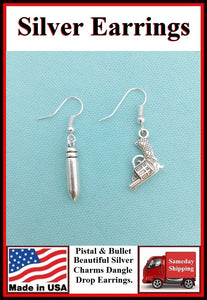 Police Earrings; Pistol and Bullet Charms Dangle earrings.