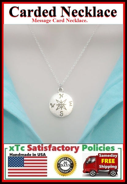 Mentor Gift; Handcrafted Silver Compass Charm Necklace.