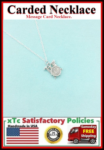 Drummer Gift; Handcrafted Silver Drum Set Charm Necklace.