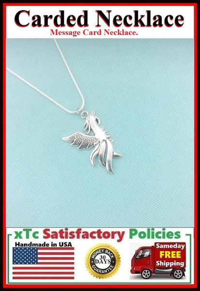 Handcrafted Beautiful Silver PHOENIX IN FLIGHT Charm Necklace.