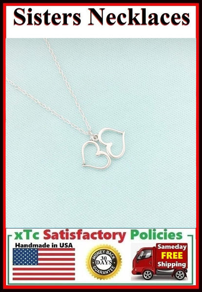 Unbiological Sister Gift; ; Handcrafted Silver Heart Charms Necklace.