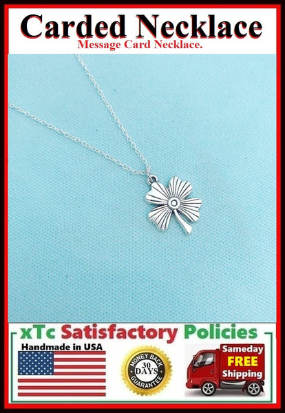 True Friend Handcrafted Silver 4 Leaf CLOVER Charm Necklace.