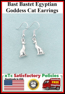 3D Bast Bastet  Egyptian Goddess Cat Dangle Earrings.