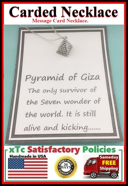 Survivor of SEVEN WONDERS of the world Silver PYRAMID OF GIZA Charm Necklace.