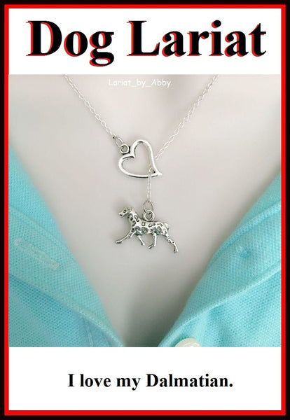I Heart My Dalmatian Dog Handcrafted Necklace Lariat Style.
