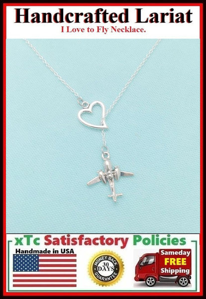 I Love to FLY Necklace Lariat Style. Pilot or Stewardess or Travel Necklace.