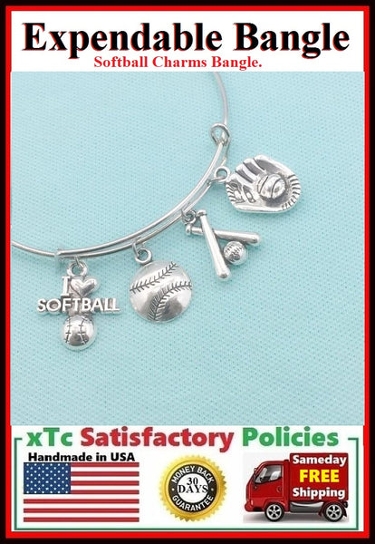 Softball Theme Charms Bangle. Player Jewelry.