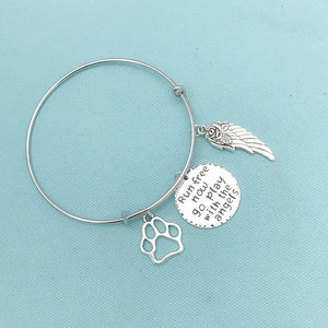 Animal Lovers: Beautiful Dog Memorial Charms Expendable Bangle.