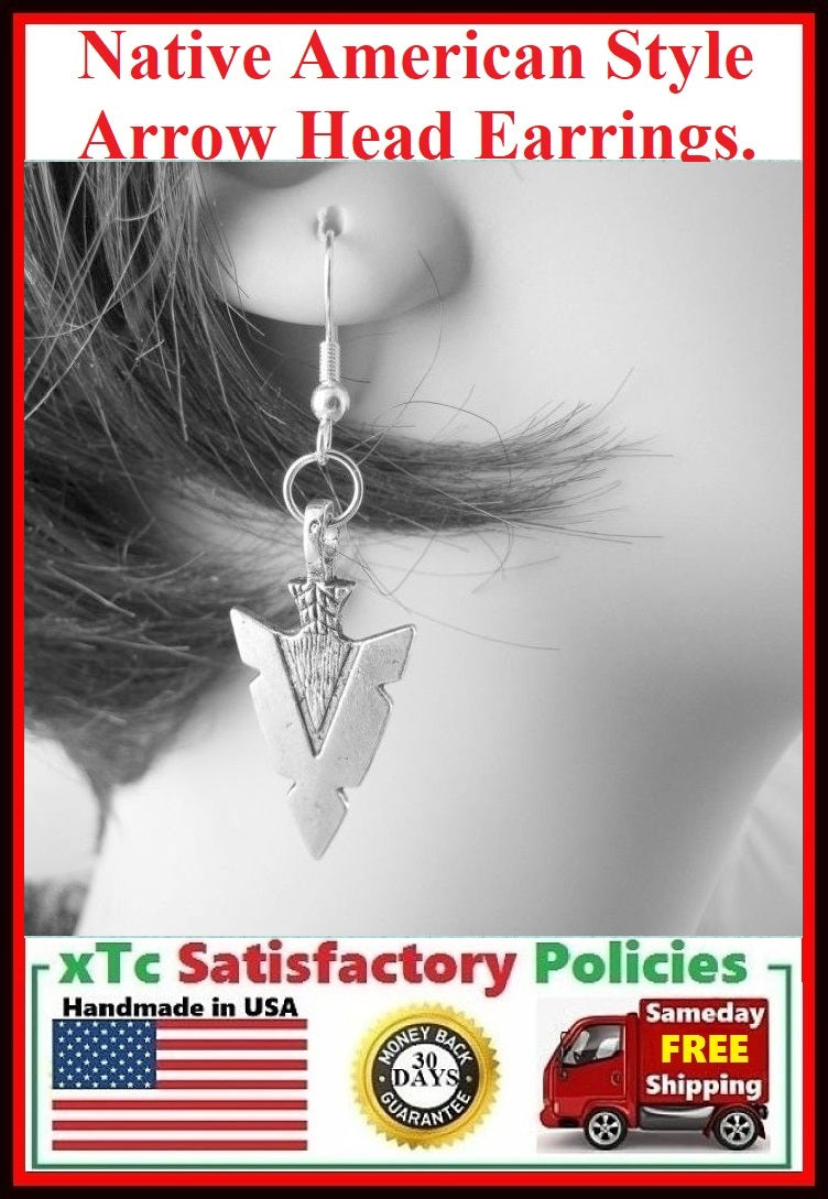 Native American Style Silver ARROW HEAD Earrings.