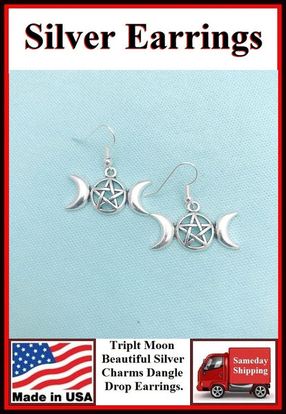 Triple Moon Goddess Pentacle Pendant Dangle Silver Earrings.