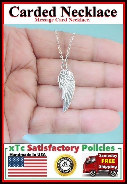 Handcrafted Beautiful Silver ROSE ANGEL WING Charm Necklace.