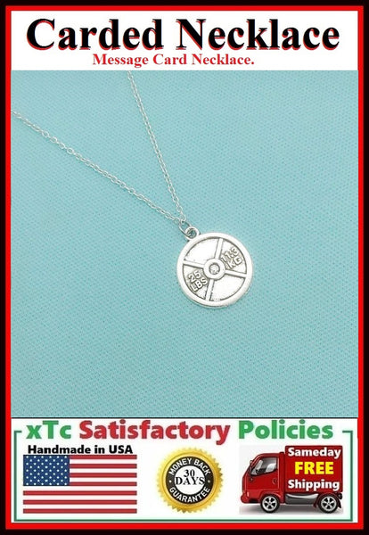 Cross Fit Gift; Handcrafted Silver Weight Plate Charm Necklace.
