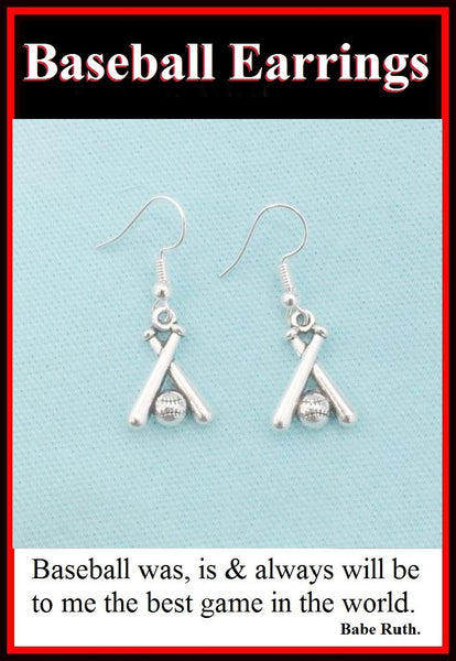 Baseball Bats n Ball Silver Earrings. Player Gift. Team Gift.
