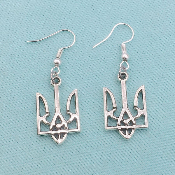 Ukraine TRYZUB TRIDENT (Coat of Arms) Silver Charms Dangle Earrings.