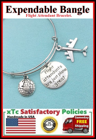 Flight Attendant Handcrafted Expendable Bangle Bracelet.