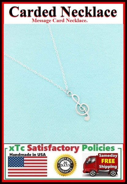 Music Lover Gift; Handcrafted Music Note Silver Charm Necklace.
