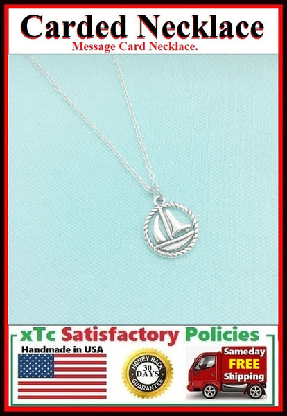 Motivational Gift; Handcrafted Sailboat Silver Charm Necklace.