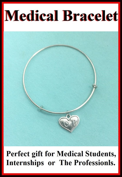 Medical Bracelet : (OT) Occupational Therapist Charm Expendable Bangle.
