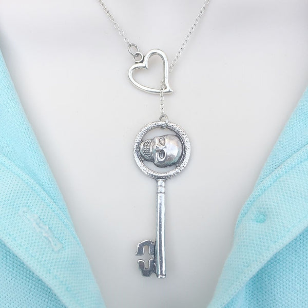 OUAT Skull Key Silver Lariat Style Y Necklace