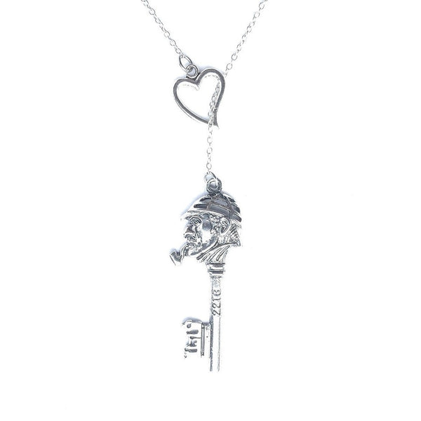 Sherlock Key Silver Lariat Style Y Necklace.