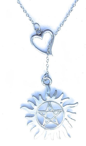 Supernatural Tattoo Silver Lariat Y Necklace.