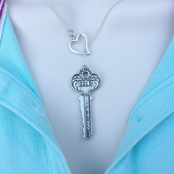 221B Sherlock Address Silver Key Lariat Y Necklace.