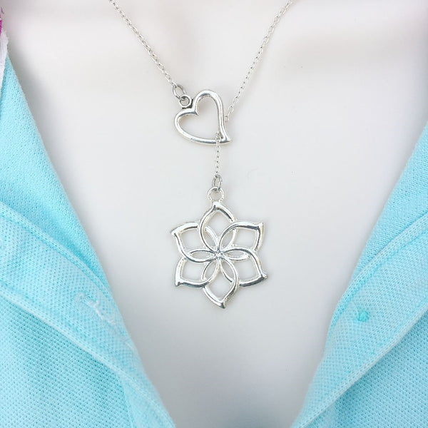 Hobbit Galadriel Flower Silver Lariat Y Necklace.