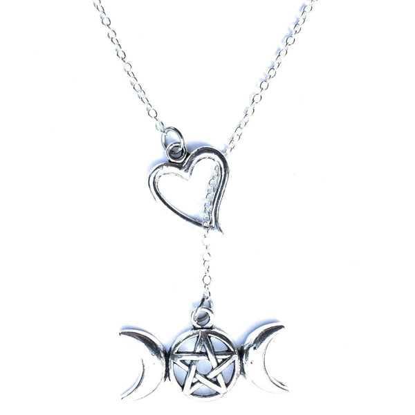 I Heart Triple Moon Pentacle Silver Lariat Y Necklace.