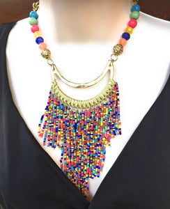 Beautiful Multi Color Multiple Bead Stings Statement Necklace.